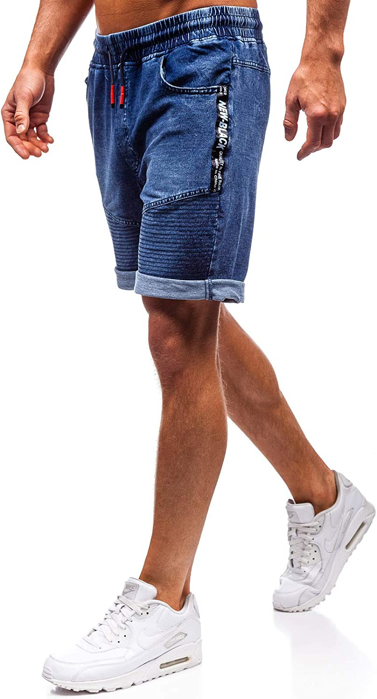 da Uomo Mix 7G7 con Patch con Stemma con Stampe con Coulisse BOLF Pantaloncini di Jeans con sovraimpunture