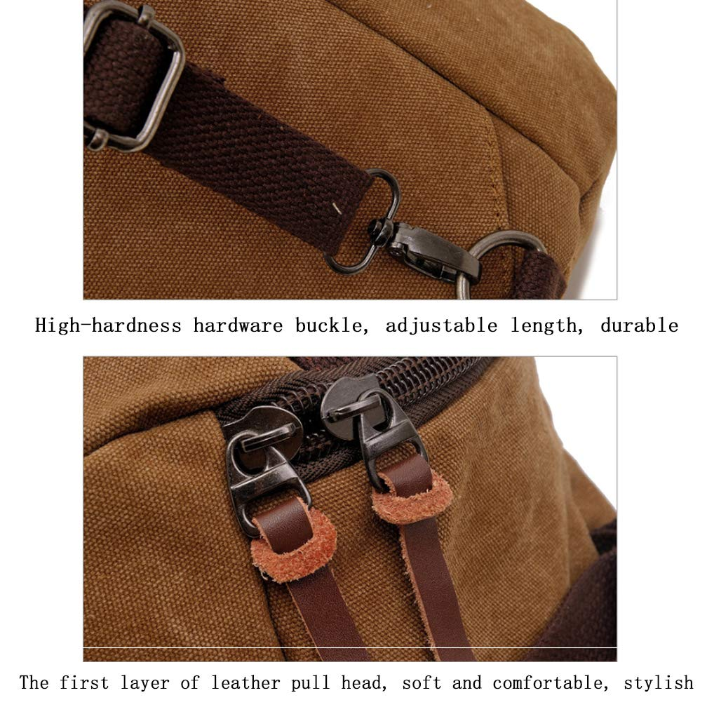 Canvas Backpack Shoulder Diagonal Casual Large Capacity Multi-Function Mens Bag Travel Hiking Bag Black Brown 36-55L Long 32 Wide 27 High 46CM