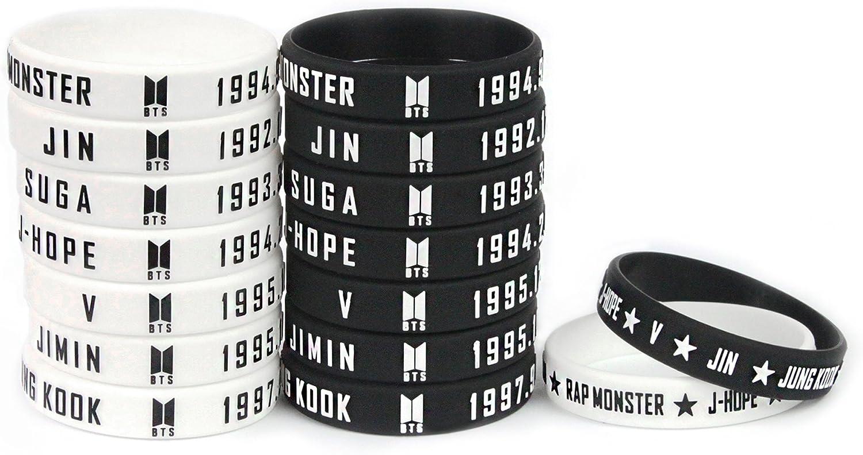 Fanstown kpop BTS Bangtan Boys 3D silicone rubber wristband accessories bracelet 16 pieces