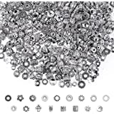 Silver Spacer Beads, Cridoz 900Pcs 17 Style Spacer Beads for Jewelry Making Bracelet Necklace Jewelry Findings…