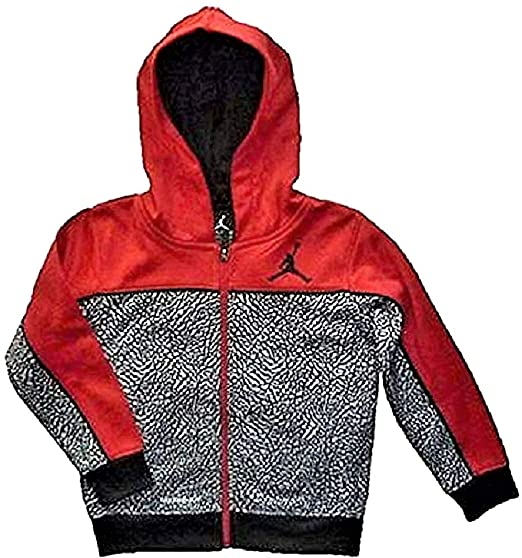 0a8fe5b729e8 Air Jordan Little Boys Jumpman Red and Black Print Full Zip Therma-fit  Hoodie (