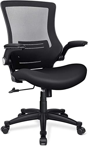Funria Ergonomic Mesh Office Chair Swivel Mesh Desk Chair Flip Up Arms Black Mesh Computer Chair