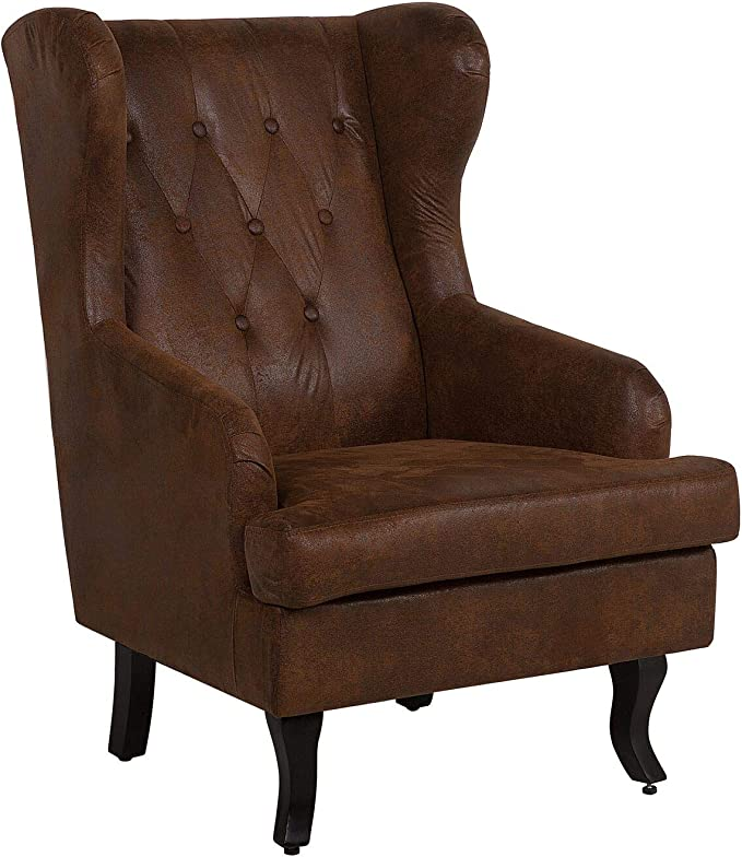 Beliani Fauteuil en Simili Cuir Marron Alta: Beliani: Amazon