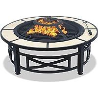 Centurion Supports Nusku Luxueux et Premium multifonction Noir avec des carreaux de céramique à 360° et chauffage de terrasse de jardin rond Brasero