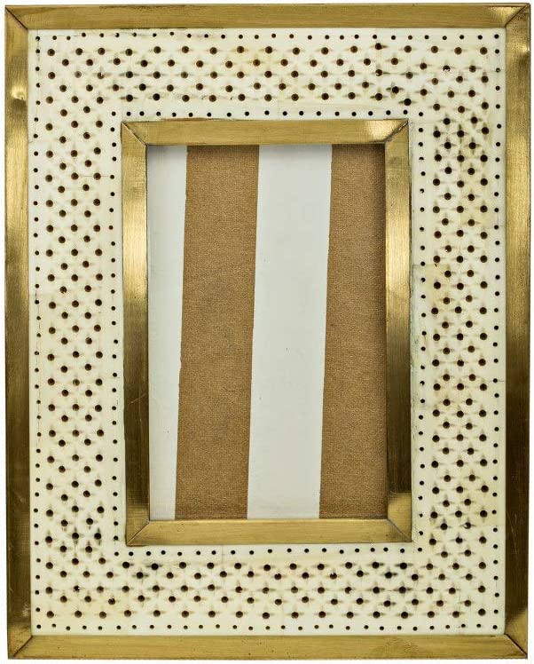 5 Elements Table Picture Frame 5x7, Home Decor, Office & Room Décor, Photo Frames for Desk and Wall Display, Housewarming Gift. Hand Crafted with Resin- White Gold