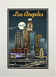 product image for Los Angeles, California - Retro Skyline (11x14 Double-Matted Art Print, Wall Decor Ready to Frame)