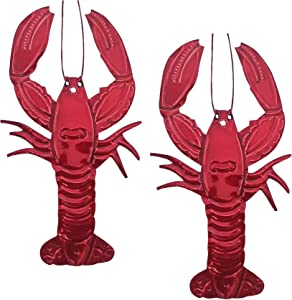 2 Metal Lobster Wall Decor Pieces | Red Hand Crafted Tin Art Set with Nautical Theme | Seafood Motif For Wall Decorations (Has Hole To Hang)