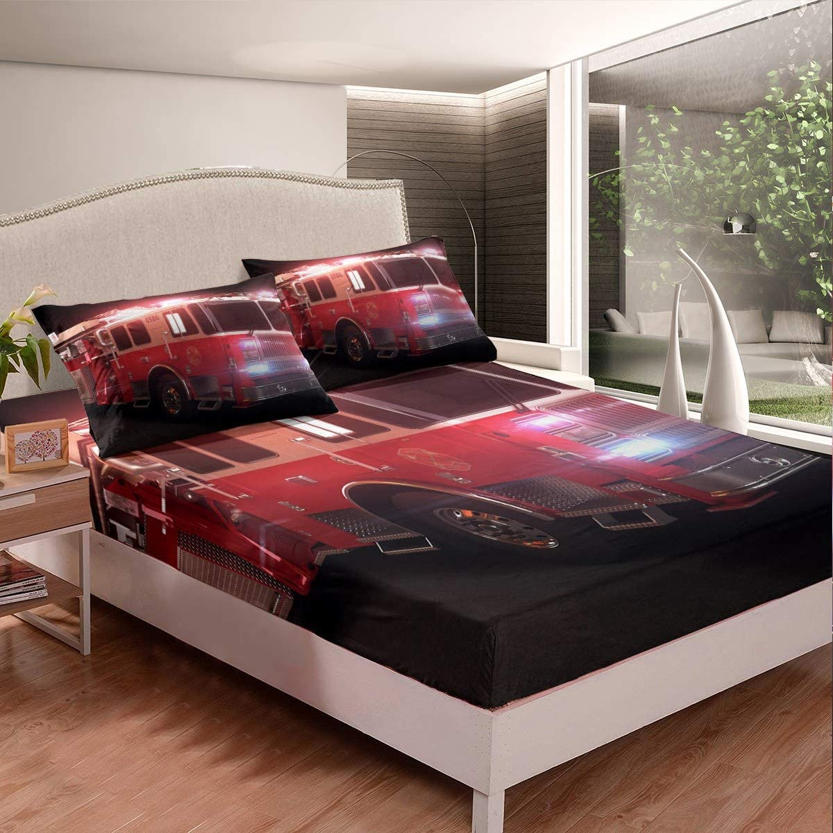 Amazon Com Feelyou Fire Truck Bed Sheet Set Fire Emergency Rescue Bedding Set For Kids Boys Girls Vehicle Transportation Fitted Sheet Firefighter Bed Cover With 1 Pillowcase 2pcs Twin Size Home Kitchen