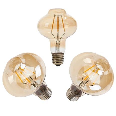 RANPO Bombilla de filamento LED vintage E27 G80 4W, forma de ...