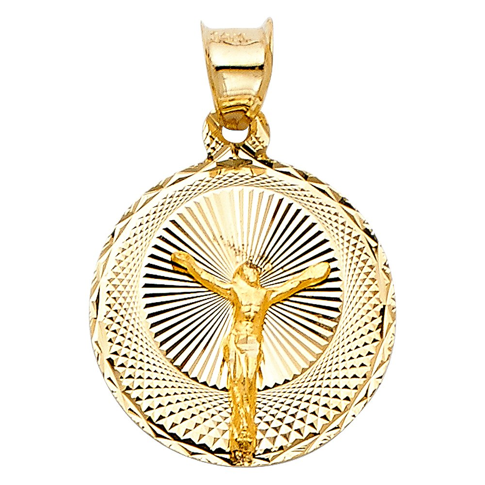 14K Yellow Gold Diamond Cut Jesus Stamp Charm Pendant with 1.1mm Wheat Chain Necklace