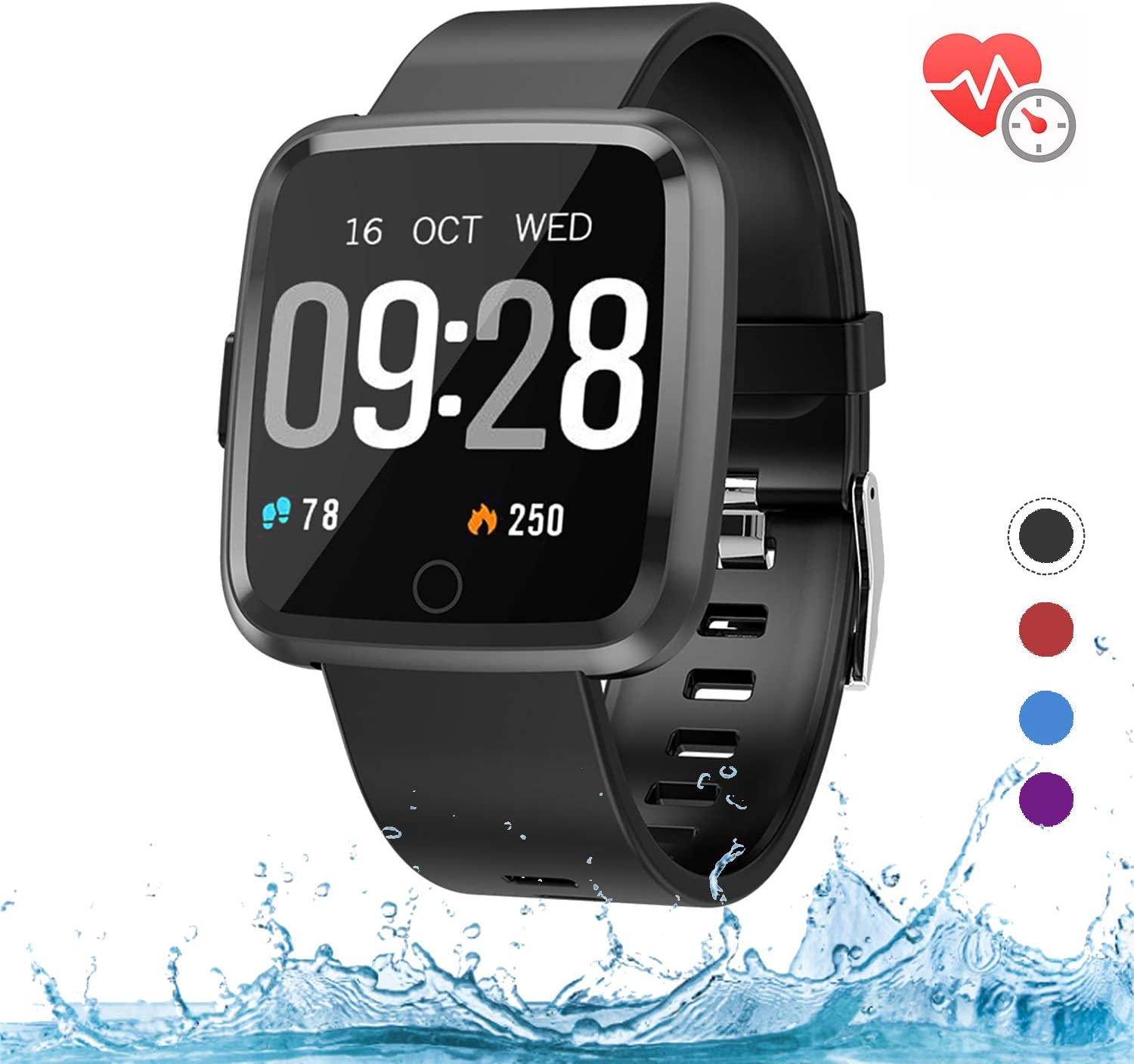 Fitness Tracker with Heart Rate Monitor,Fitness Watch Activity Tracker, IP68 Waterproof Sleep Monitor,Calories,Sleep Monitor,Alarm Clock,Call SMS Notice for Men Women Kids