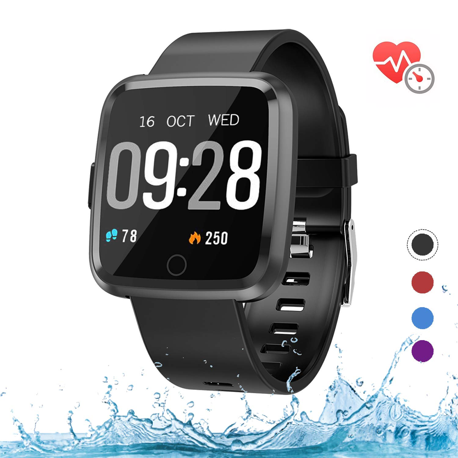 mykit Fitness Tracker with Heart Rate Monitor, Smart Watch with Blood Pressure Monitor Step Counter Sleep Monitor, Pedometer Watch for Women Men Kids