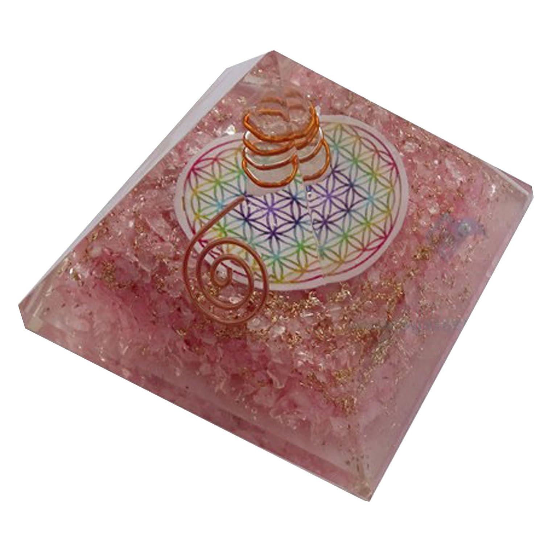 Fleur De Vie Quartz Rose Orgone Pyramide Orgonite Energy Genrateur Reiki Gu/érison