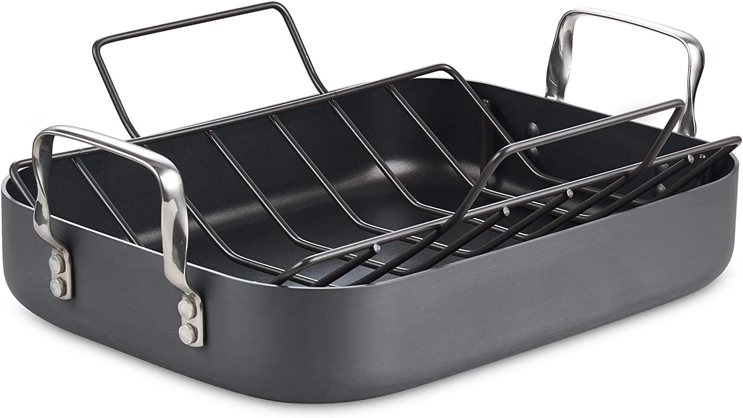 Cooks Standard 02672 Hard Anodized Nonstick Bakeware Roaster with rack, 16-inch x 12-inch, Black