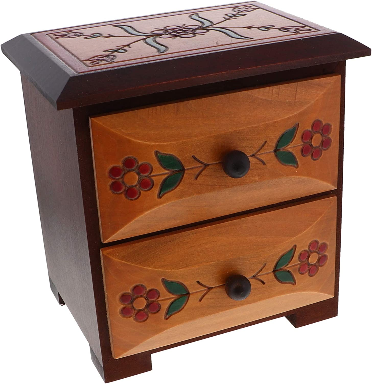 Li'Shay Wooden Chest of Drawers with Carved and Painted Flowers-Brown