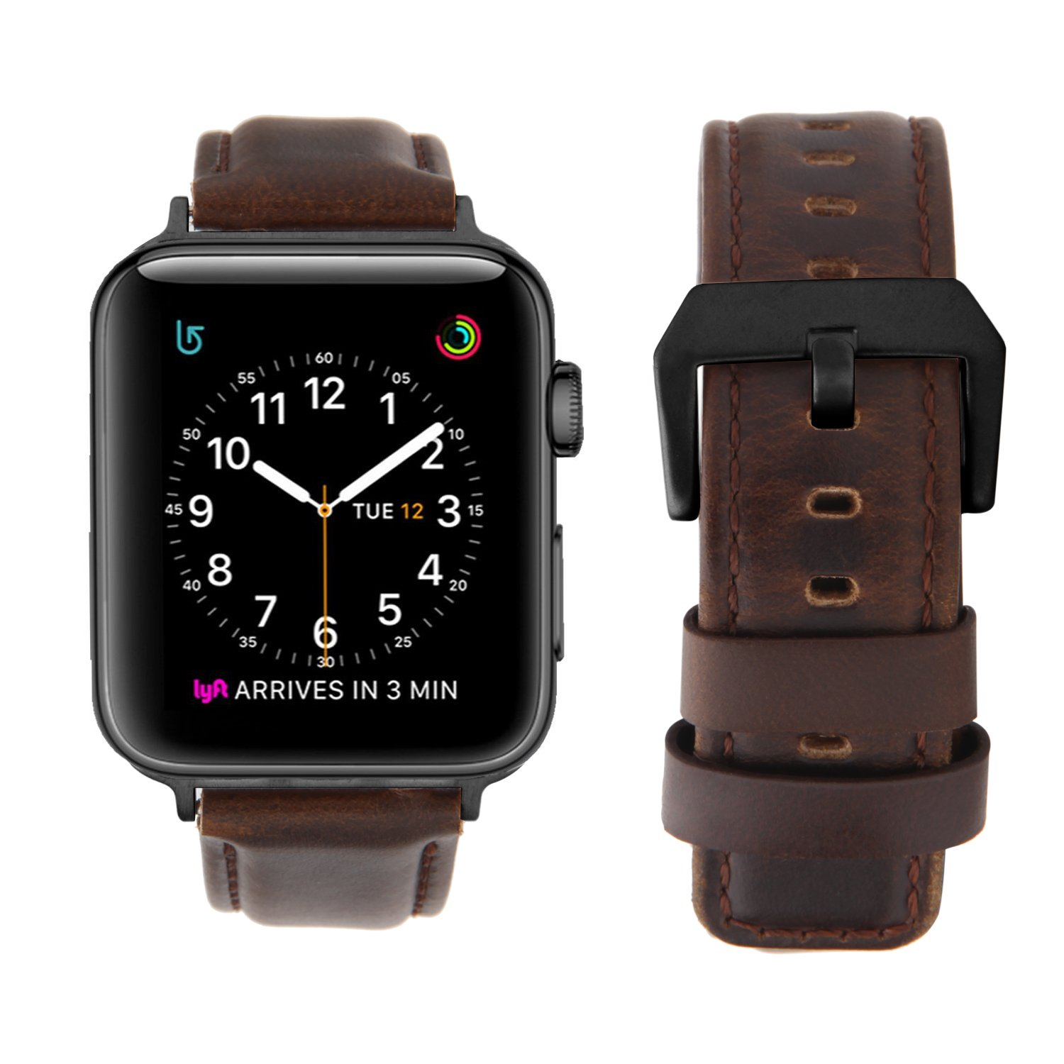 Youkex For Apple Watch Band 42mm Genuine Leather Strap Replacement Series 2 Black Wristband With Stainless Steel