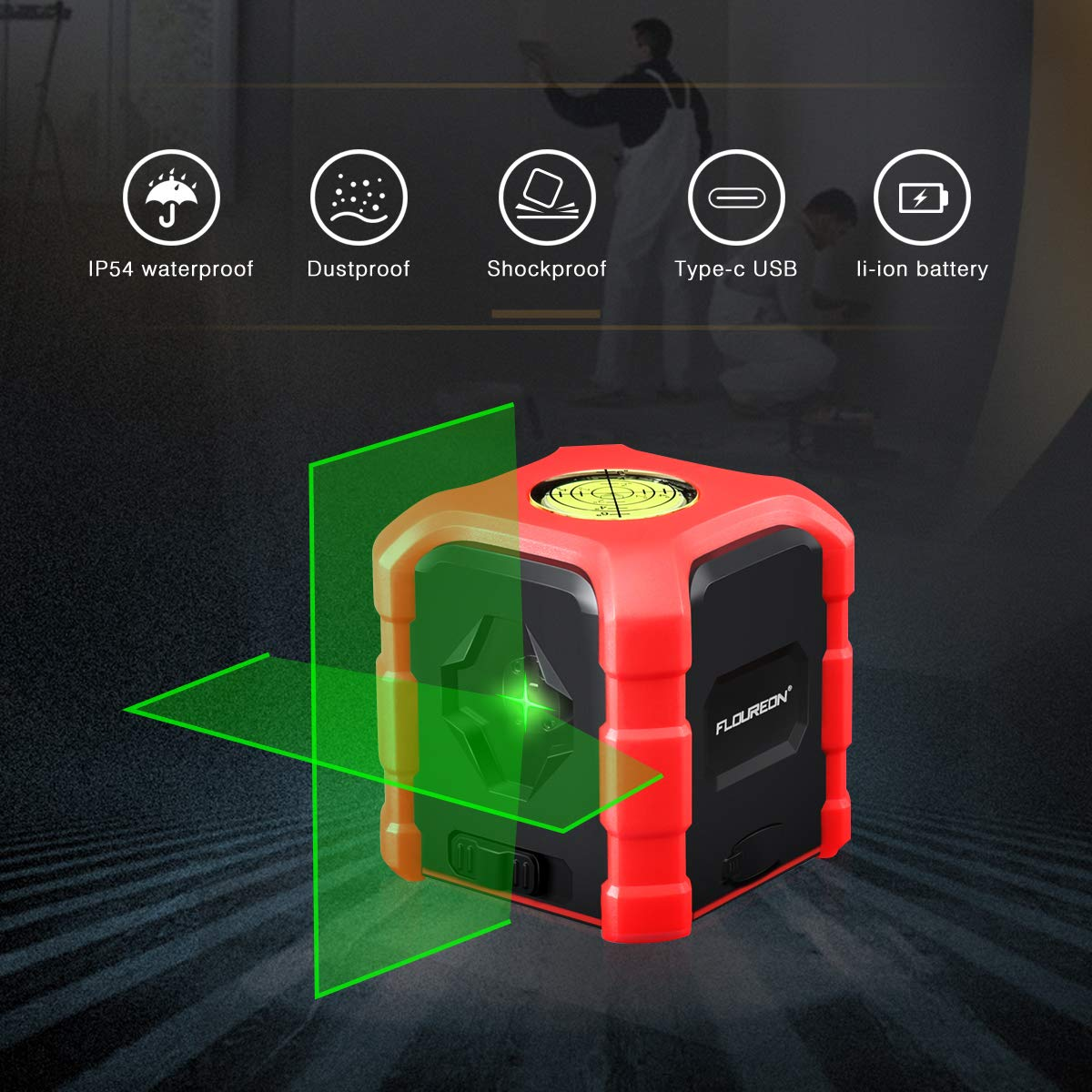Soporte Giratorio Magn/ético USB Carga 2 AA pilas icluidas FLOUREON Nivel L/áser Autonivelante Verde 30M L/íneas Cruzadas 130/° Horizontal y Vertical 360 grados IP54