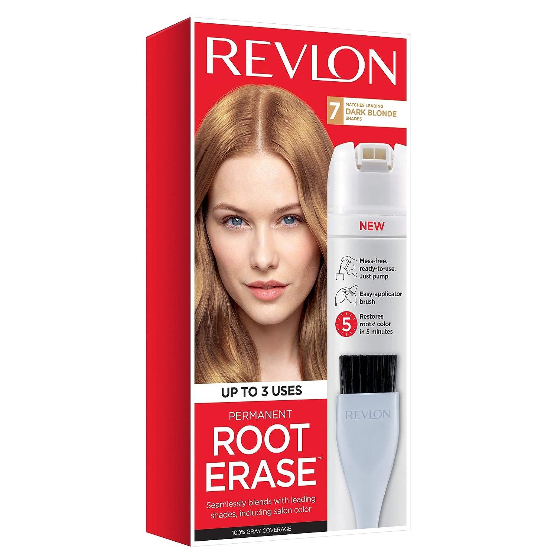 Revlon Root Erase Permanent Hair Color, Root Touchup Hair Dye, 100% Gray Coverage, 7 Dark Blonde, 3.2 oz