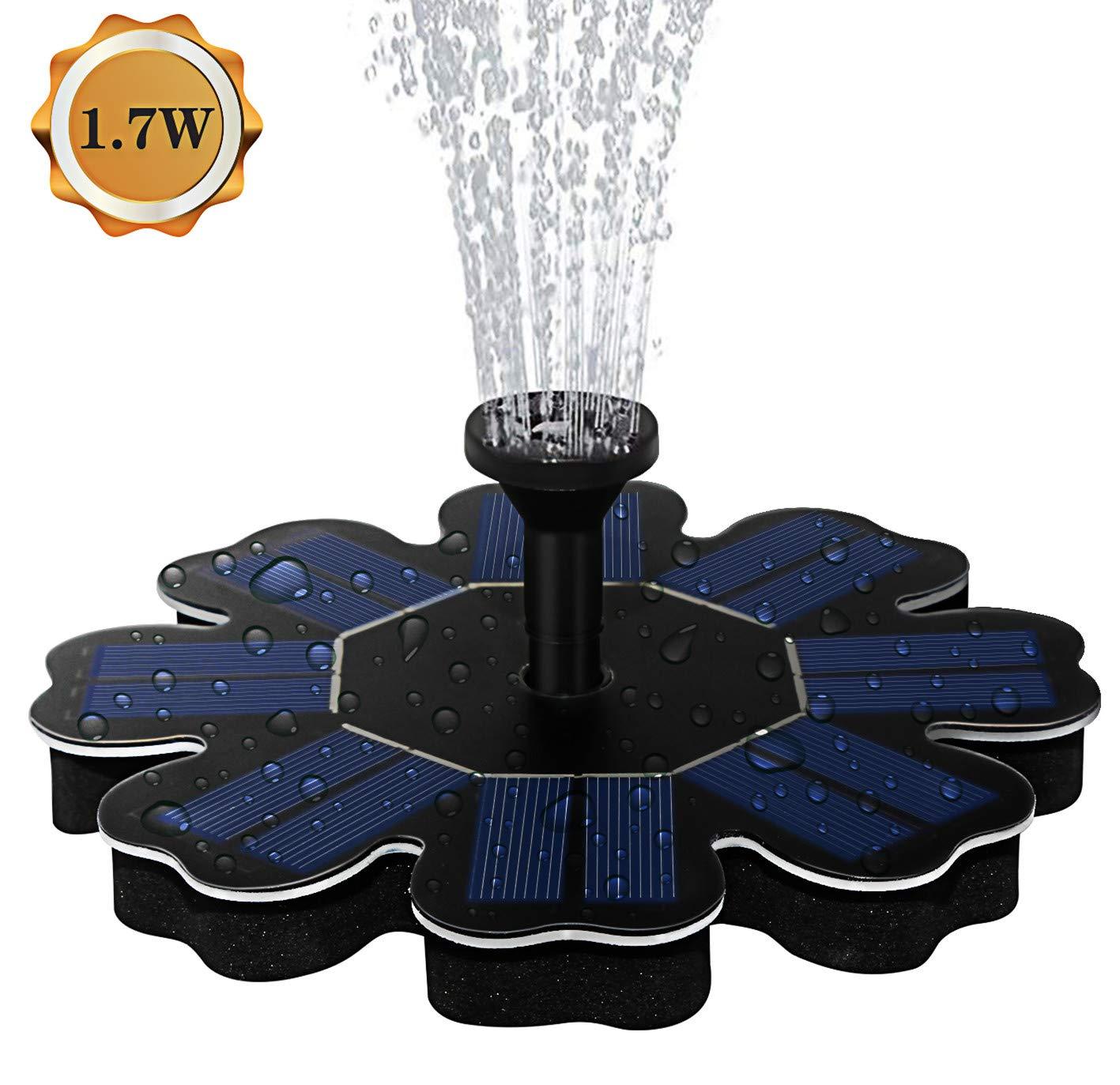 AMYER Solar Fountain, Solar birdbath Fountain, Solar Powered Fountain Pump, 1.7W Solar Panel Kit, Solar Water Fountain for Pool, Pond, Garden, Fish Tank, Aquarium by AMYER