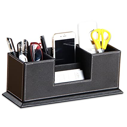 Incroyable Leather Desk Pen/ Pencil Holder,YAPISHI Faux Leather 4 Divided Compartments  Desktop Organizer Office