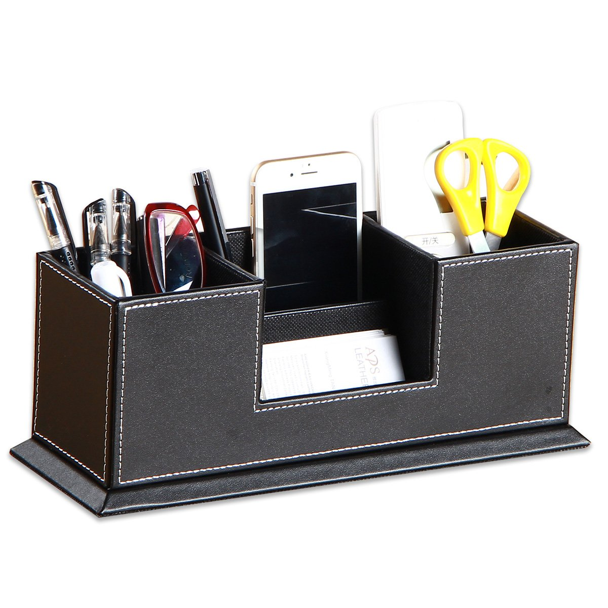 Leather Desk Pen/ Pencil Holder,YAPISHI Faux Leather 4 Divided Compartments Desktop Organizer Office Desk Accessories Container Box(Black) by YAPISHI