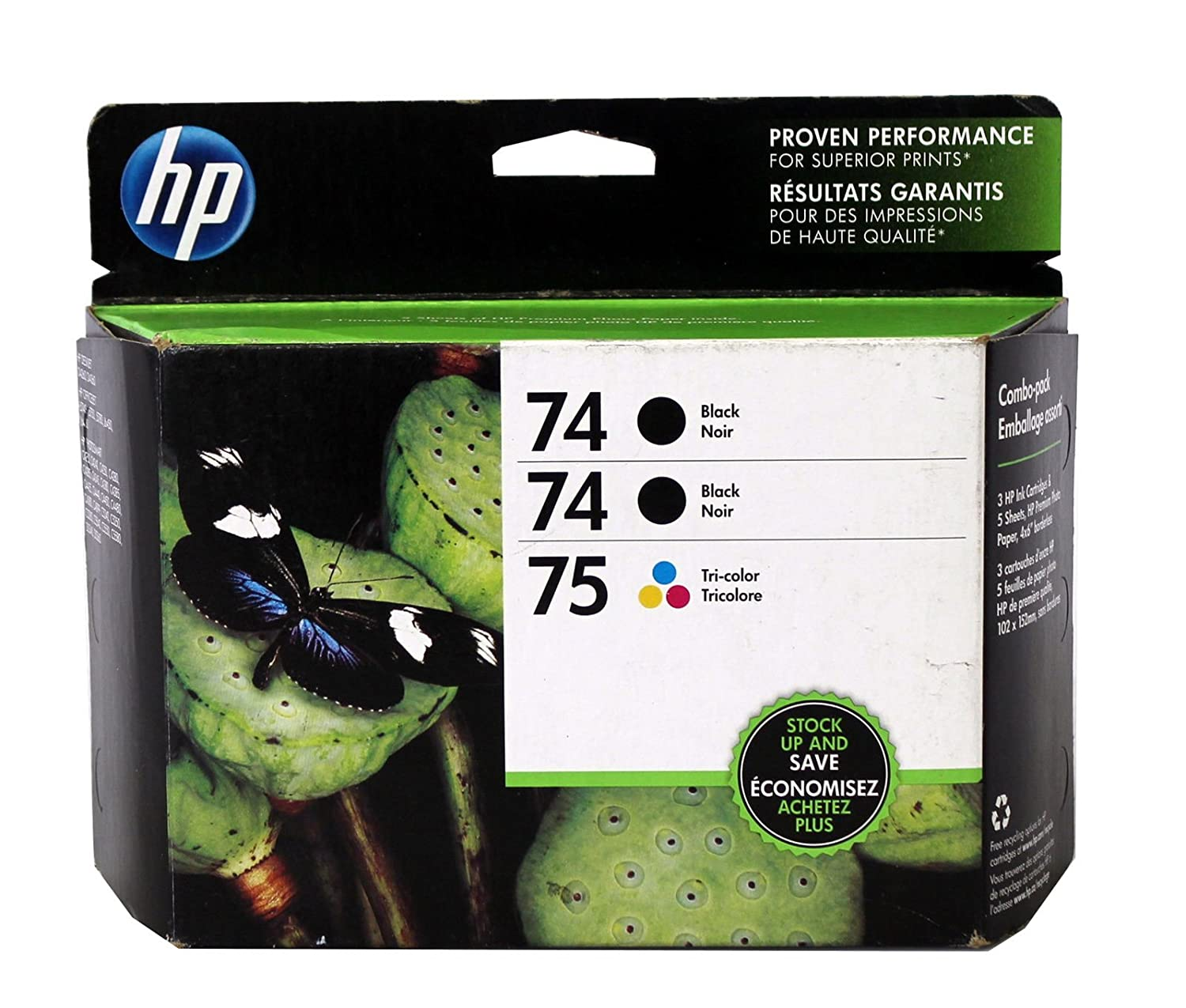 Amazon.com: Genuine Hewlett Packard 74/74/75 Threepack Combo ...