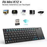 Rii K12 Mini - Teclado mini con touchpad (WiFi 2.4 GHz, USB, acero inoxidable), color negro - QWERTY español