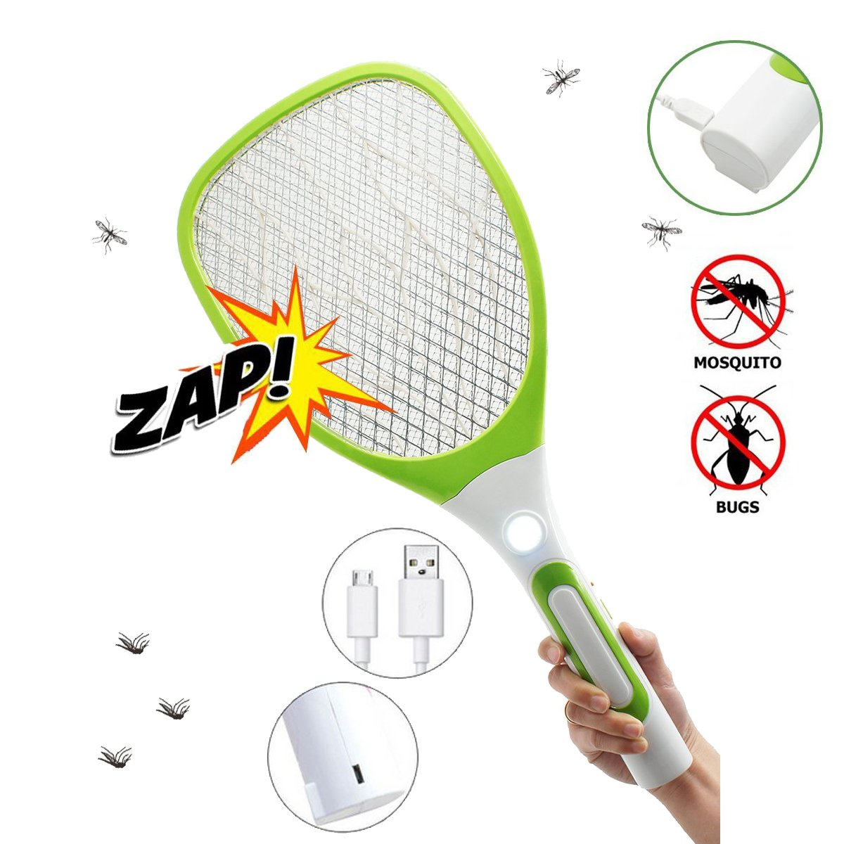 USB Rechargeable Electric Fly Swatter Bug Zapper Mosquito Killer Racket with LED Flashlight (White Green) by Qiyuxow (Image #1)