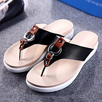 Damenschuhe HWF Sommer Flip-Flops Weibliche Dicke Boden Flache Sandalen Student Strand Schuhe Hausschuhe (Farbe