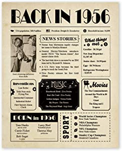 Back in 1956 Poster Newspaper Unframed 8x10 // 64th Birthday Gifts for Women, Men - Gift Ideas for 64 Year Old Man, Woman Under 10 Dollars - Birthday Decorations Vintage for Mom, Dad, Grandma, Grandpa