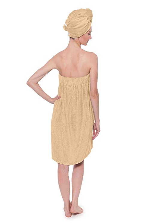 0d580c6cdf Amazon.com  Women s Towel Wrap - Bamboo Viscose Spa Wrap Set by Texere (The  Waterfall)  Clothing