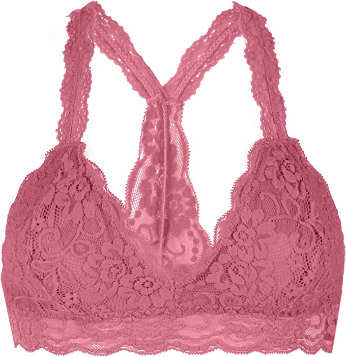bbe38f7cb4 Floral Lace Racerback Unpadded Bralette Top Sheer Bustier Crop Wireless  Lingerie Bra M Mauve at Amazon Women s Clothing store