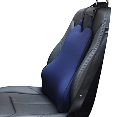 Dreamer Car Ergonomic Lumbar Support Back Cushion with Two Straps Ideal Use in Car- Supportive and Comfortable Memory Foam Relieves Lumbar/Back Pain -Blue: Automotive