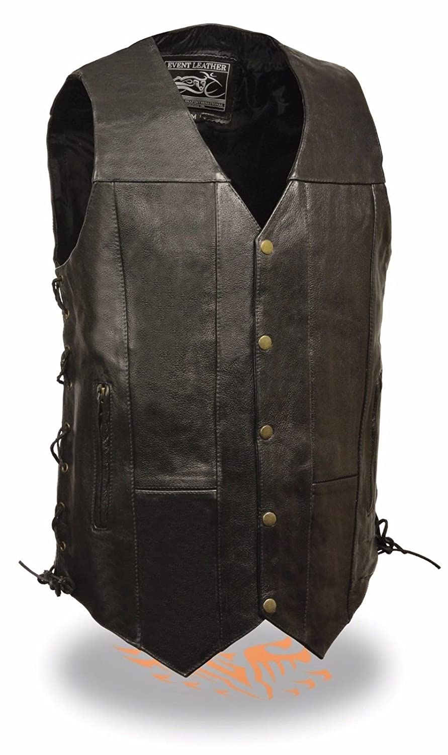 MEN'S TALL LENGTH MOTORCYCLE 10 POCKETS 3' LONGER BIKERS LEATHER VEST W/ LACES (L Regular) ShafInc EL5391TLL
