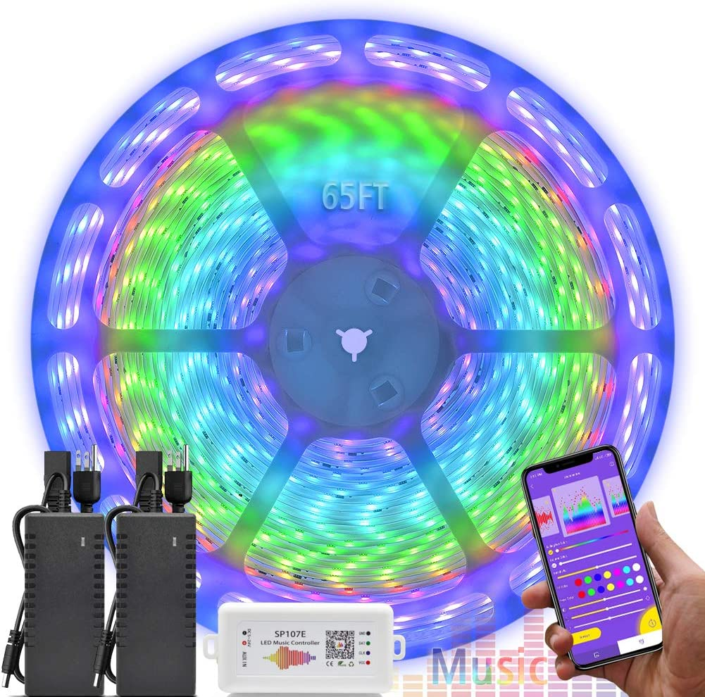 Complete 65.6 Foot Music Color Chasing LED Strip Light Kit, 24V 20 Meters Waterproof Flexible Addressable RGB LED Tape Light Works With SP107E Support iOS Android, For Home Decorations