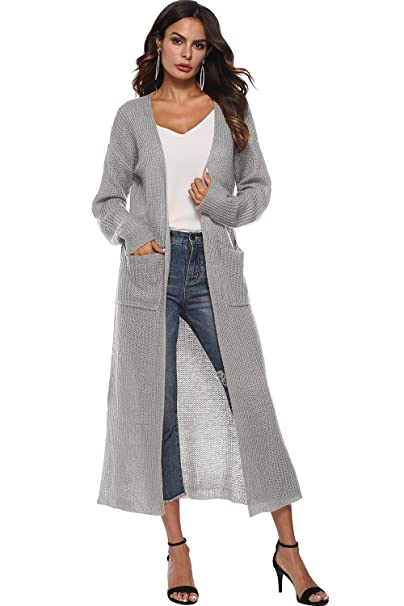 73ef42efed48 Women s Long Sleeve Open Front Split Knit Sweater Lightweight Thin Long Maxi  Cardigan Drape Caps Pockets (Grey S) at Amazon Women s Clothing store