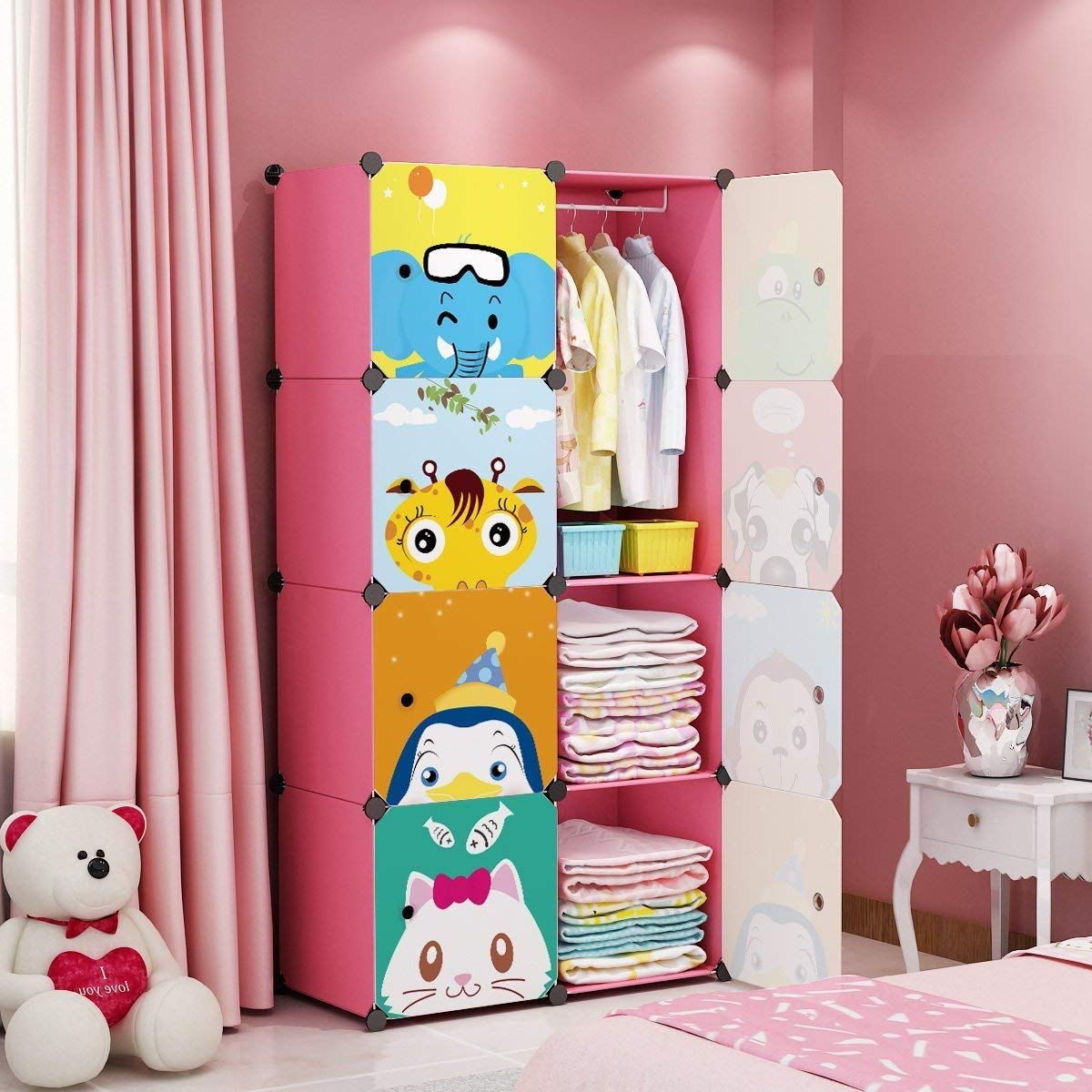 MAGINELS Children Wardrobe Kid Dresser Cute Baby Portable Closet Bedroom Armoire Clothes Hanging Storage Rack Cube Organizer, Large Pink 6 Cube & 1 Hanging Section by MAGINELS