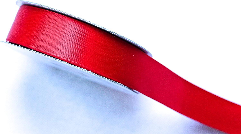 CaPiSo/® Ruban de satin double face en satin de qualit/é sup/érieure 25 m 10 mm rouge