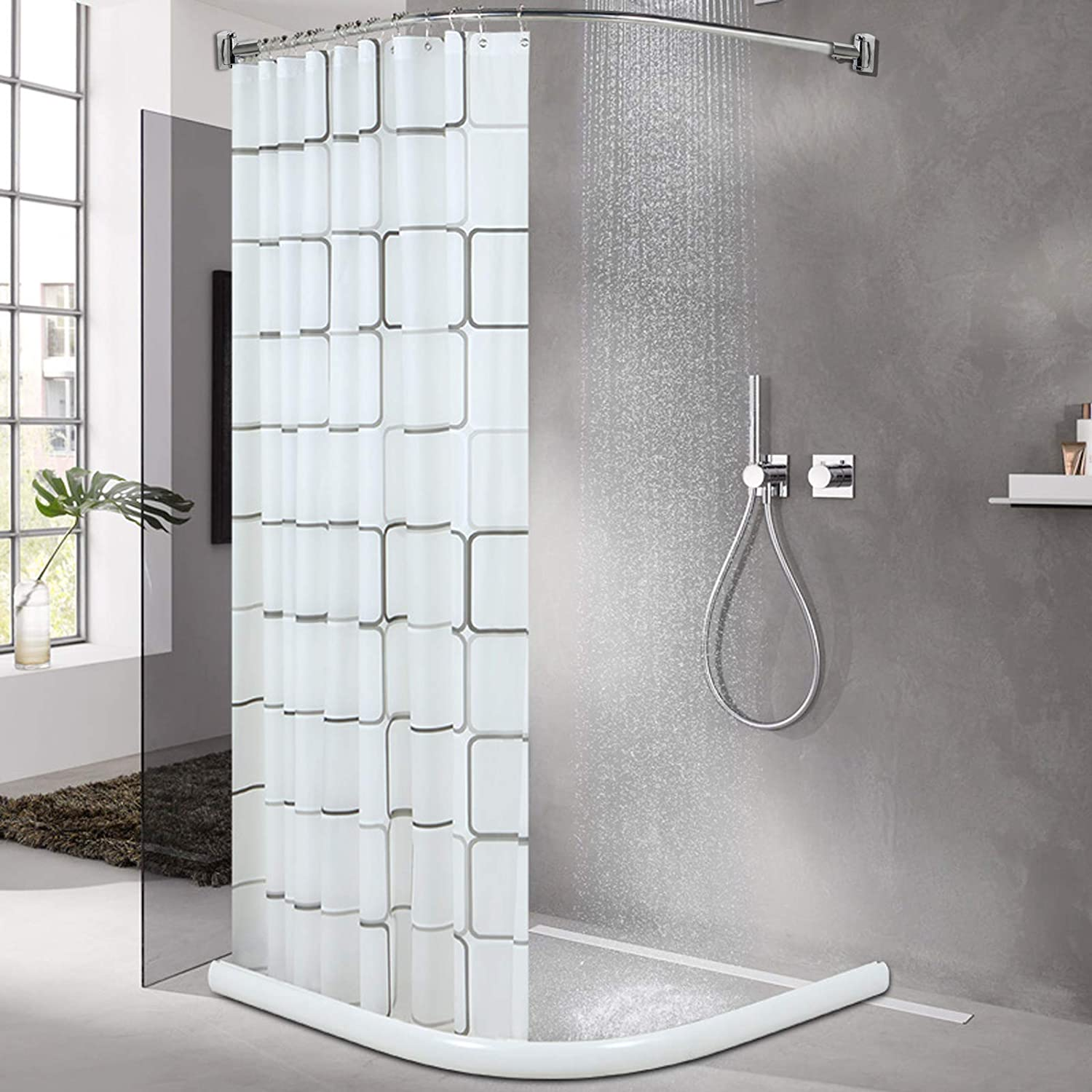 AllRight Reglable Croydex Tringle de Douche Courb/ée 145-200cm//57-78
