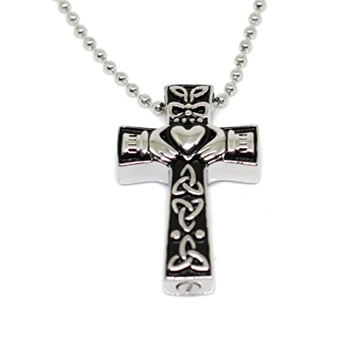 Amazon lauren annabelle studio cremation jewelry cross celtic lauren annabelle studio cremation jewelry cross celtic claddagh urn stainless steel pendant necklace for men and aloadofball Gallery