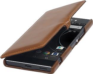 StilGut Book Type Case con Clip, custodia a libro booklet in vera pelle per Sony Xperia XA1 Ultra, Cognac