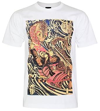 PALLAS Unisex's Japanese Warrior Samurai Traditional Art T-Shirt -PA411 ( White ,M