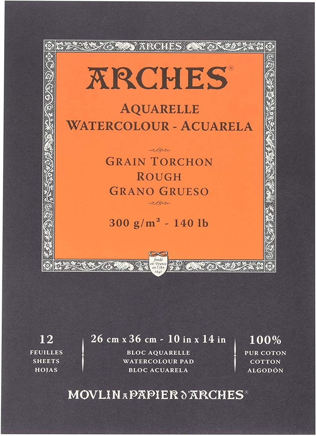ARCHES Papel de Acuarela, 100% Algodon, Blanco, 36x26x1 cm, 12 ...