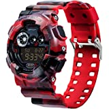 Sanda Men's Sports Digital Watch Waterproof LCD Light Camouflage Wristwatch - Red