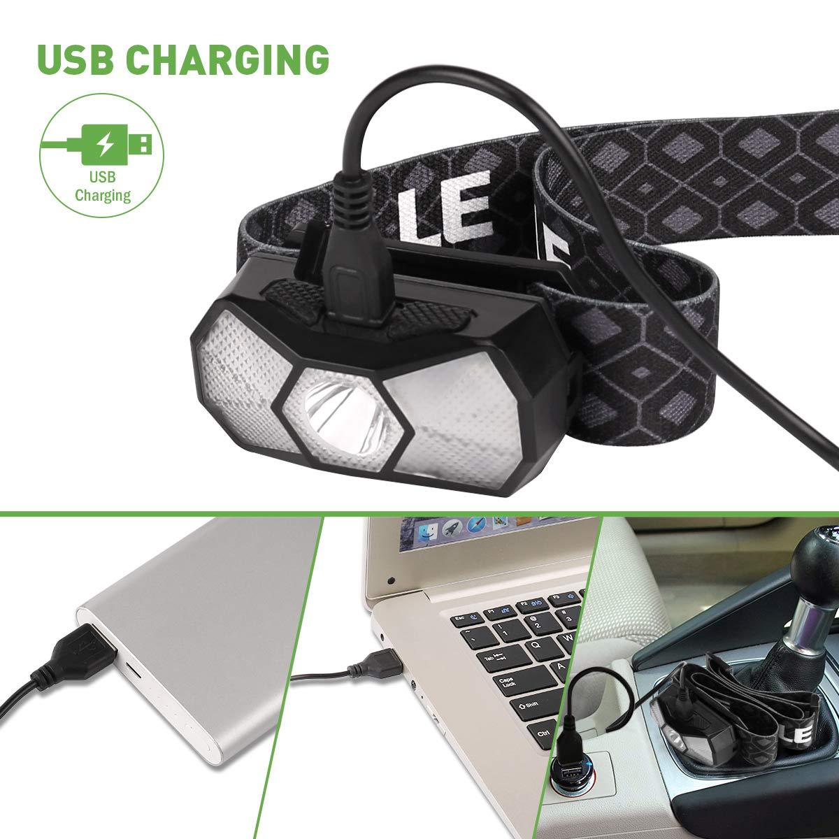 Ideal f/ür Camping Joggen LED Kopflampe mit 7 Lichtmodi Scheinwerfer und Rotlicht LE Stirnlampe USB Wiederaufladbar USB Kabel inklusive