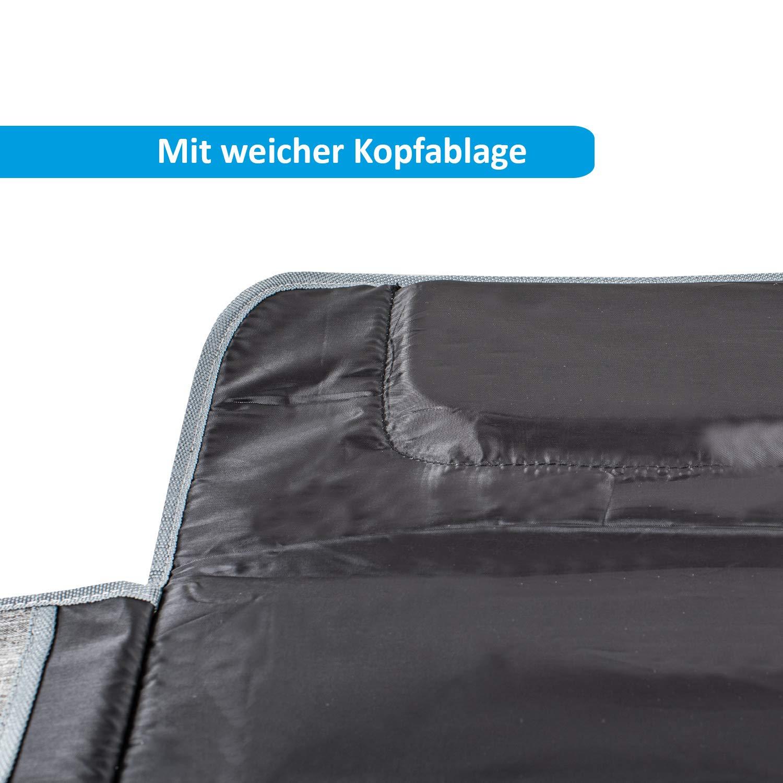 langlebig grau FUCHSI Tragbare Wickelunterlage mit Kopfpolster wasserdicht faltbar gepolsterte Windeltasche portable Wickelauflage f/ür Unterwegs