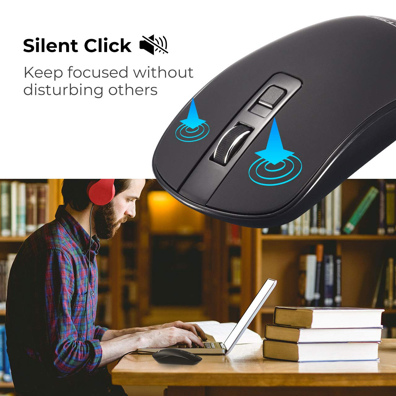 Victsing Silent Wireless Mouse Computer Slim With Usb Wire Diagram As Well Wiring For Acer Aspire On 3 Adjustable Dpi Levels Click Nano Receiver And Off Switch Pc