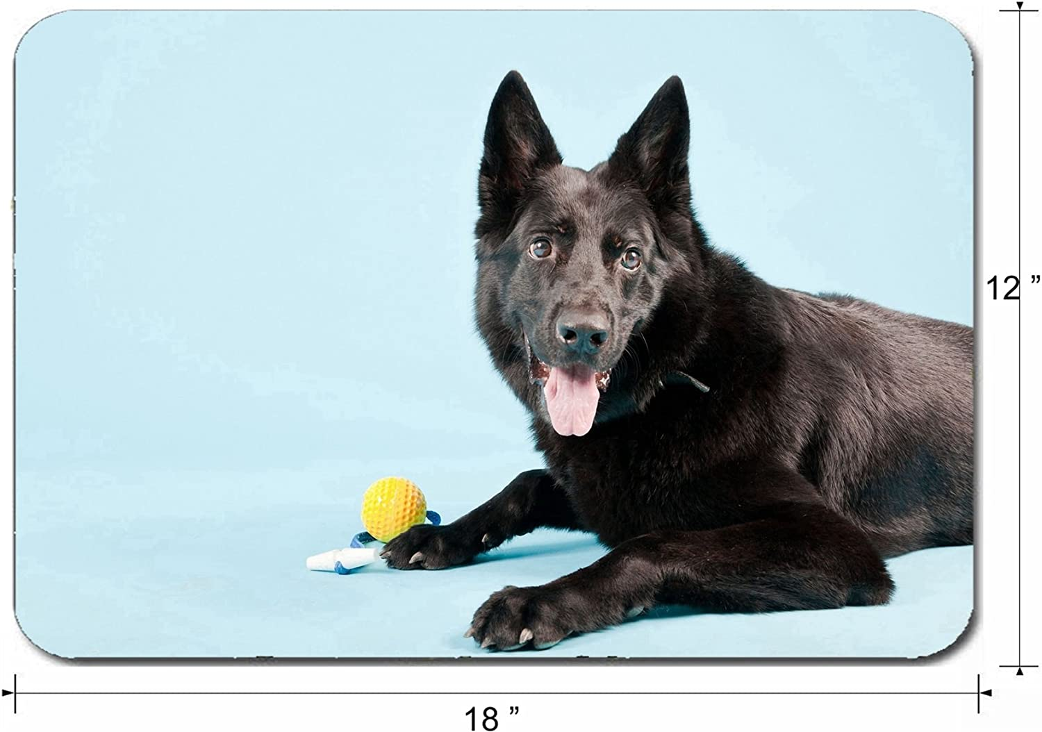 Liili Large Mouse Pad XL Extended Non-Slip Rubber Extra Large Gaming Mousepad 3mm thick Desk Mat 18x12 Inch Black german shepard dog with yellow toy ball isolated light blue Studio shot Photo 2028073