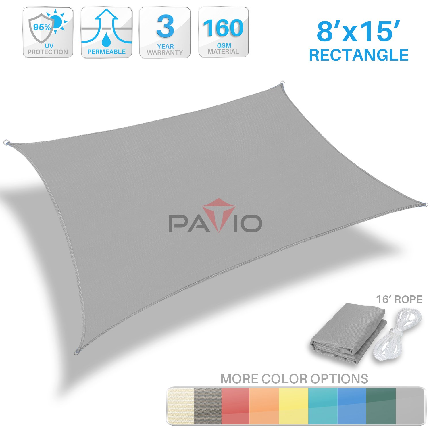 Patio Paradise 8' x 15' Light Grey Sun Shade Sail Rectangle Square Canopy - Permeable UV Block Fabric Durable Patio Outdoor - Customized Available