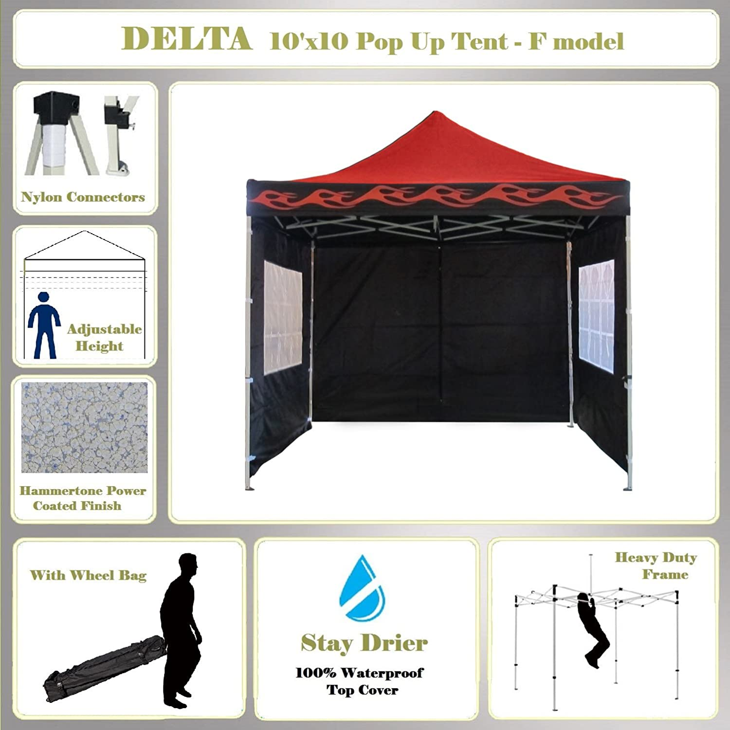 10 ' x10 ' Pop UpキャノピーウェディングパーティーテントGazebo EZ Red Flame – FモデルCommercialフレームbyデルタCanopies B00BFFEVC2